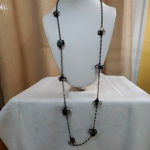 LOFT Black Chain Rhinestone Cluster Necklace #553